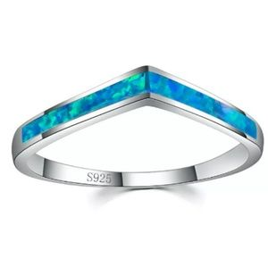 handcrafted Jewelry - Blue Fire Opal Silver V Ring